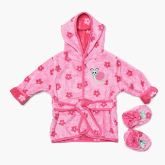 Bloom Terry Snail and Flowers Bath Robe and Booties Set