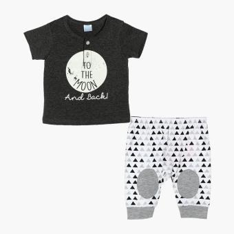 Crib Couture Boys To The Moon and Back Tee and Pajama Set (Gray)