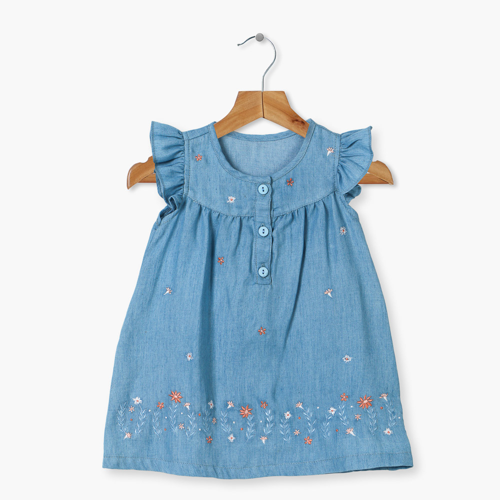 Crib for sale mandaluyong - Crib Couture Flowery Butterfly Sleeve Chambray Dress Blue Lazada Ph