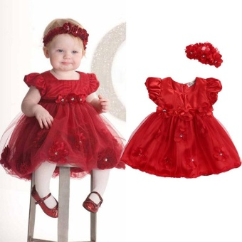 Cute Baby Girls Toddler Kids Wedding Birthday Party Pageant TulleDress 0-3 Year (6-12 Months) - intl