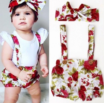 Floral Toddler Baby Girls Rose Shorts Pants Headband Summer OutfitsClothes 0-3Y (12-18 months) - intl