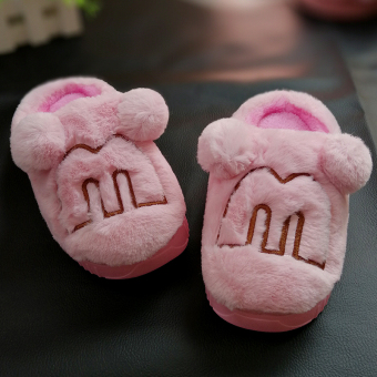 Indoor cute plush home thick bottomed non-slip cotton slippers