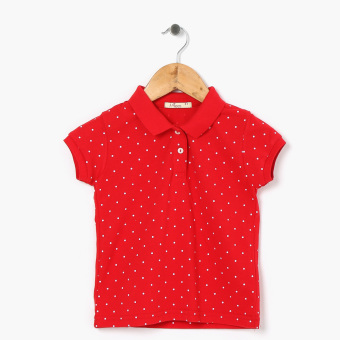 jusTees Girls All-Over Dots Pique Polo Shirt (Red)