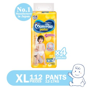 MamyPoko Easy to Wear Pants Diaper XL 28's Pack of 4