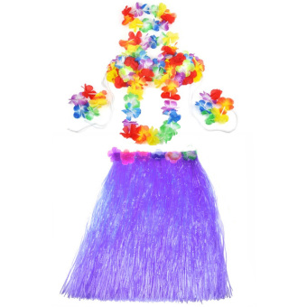 New Hawaiian Hula Set Flower Grass Dance Skirt Fancy Stag Hen Party Costume