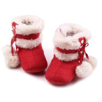 Newborn Baby Infant Winter Warm Soft Cotton Shoes Boots ChristmasBoots Red Size M for 6-12 Months Old Babies - intl