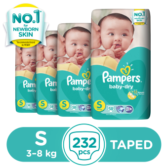 Pampers Baby Dry Diaper Small 58s - 4 Packs