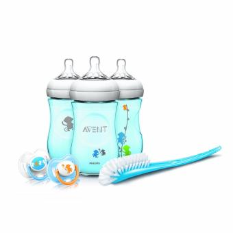 Philips AVENT Natural 9 Ounce Baby Bottle Feeding Gift Set (BlueMonkeys)