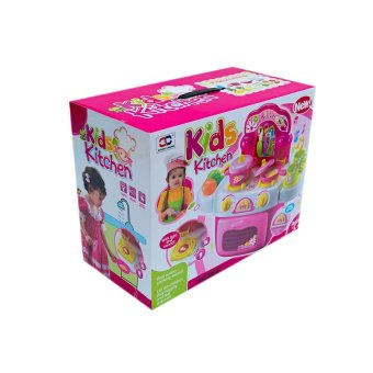 Portable kids kitchen set pink lazada ph for Kitchen set portable