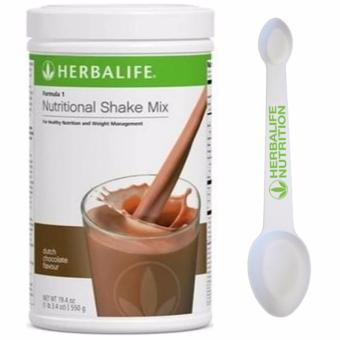 Herbalife Formula 1 Healthy Meal Nutritional Shake Mix Canister 550g (Dutch Choco) with Measuring Spoon