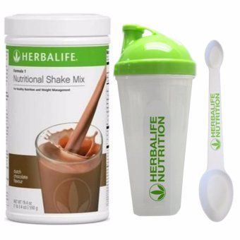 Herbalife Formula 1 Healthy Meal Nutritional Shake Mix Canister 550g (Dutch Choco) with Shaker Cup and Measuring Spoon