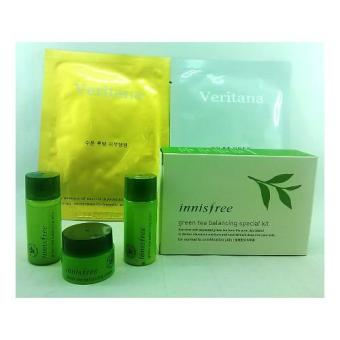 Korean Cosmetics Innisfree Green Tea Balancing Special Kit with Free Mask Pack