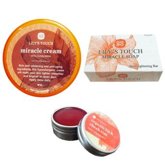Lily's Touch Miracle Cream 50ml, Miracle Soap 90g, and Red Lip & Cheek Tint