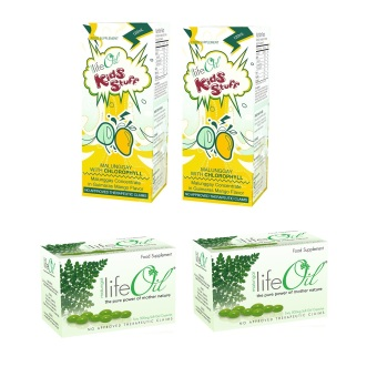 Life Oil Malungai 500mg Softgel Capsules Box of 60 Set of 2 with LifeOil Kids Stuff Malunggay with Chlorophyll 120ml Set of 2 Bundle
