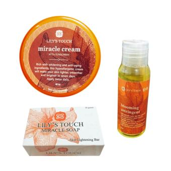 Lily's Touch Miracle Cream 50ml, Miracle Soap 90g, and Blooming Astringent 50ml Bundle