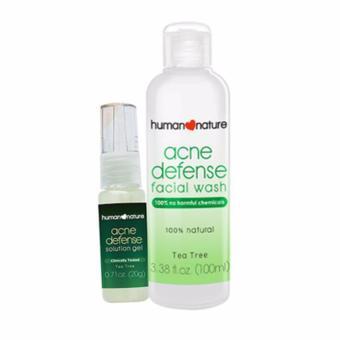 Human Nature Acne Defense Facial Wash 100ml and Acne Defense Solution Gel 20g Facial Acne Defense Set