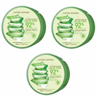 Nature Republic Soothing and Moisturizing Aloe Vera 92 Soothing Gel 300ml Set of 3