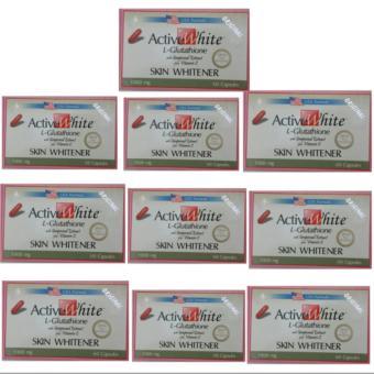ACTIVE WHITE L-GLUTATHIONE (US-Based Formula) 60 Capsules Set 10