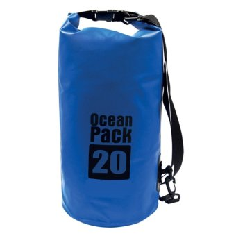 Ocean Pack Portable Barrel-Shaped Waterproof Dry Bag 20L (Blue)