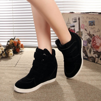 2016 New Fashion Women Hidden Wedge Heels High Top Ankle Boots Sneakers Shoes Black - intl