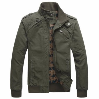 2017 Hot Sale Mens Fashion High Quality Casual Coat Slim Fit Capped Man Jacket -Army green - intl