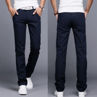 2017 Men Business Casual Slim Fit Pants Mid-Waist Solid TrousersFashion Mens Straight Cargo Pants Male Chino Lightweight -Navy Blue- intl