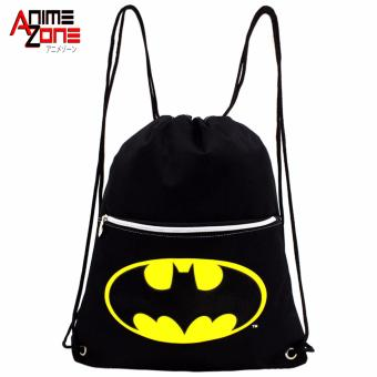 ANIME ZONE Batman Drawstring Tote Cinch Sack Promotional BackpackBag (Black)