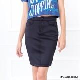 Blacksheep Bodycon Neoprene Skirt With Basic 5-Pocket Detail (Black)