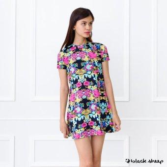 Blacksheep Floral Printed Mini Dress With Sleeves (Navy Blue)