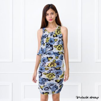Blacksheep Floral Printed Sleeveless Dress With Ruched Side Seam (Gray)