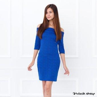 Blacksheep Printed Off-Shoulder Bodycon Dress (Blue)