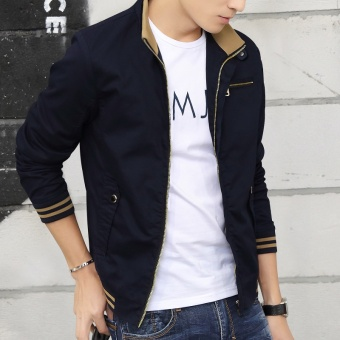 Casual spring young New style men's jacket spring and autumn jacket (Sapphire Blue)