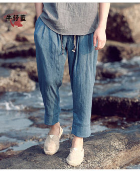Chinese-style linen men lantern pants casual pants (Cowboy blue ankle-length pants)