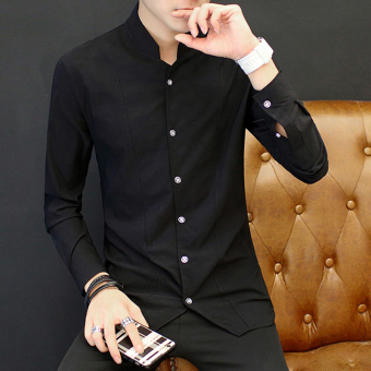 Chinese-style retro male long-sleeved men's Shirt shirt (9902 black)
