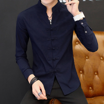 Chinese-style retro male long-sleeved men's Shirt shirt (9905 dark blue)