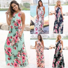 Cocoepps 2017 women Maxi vintage Elegant dresses Summer New Style Sleeveless O-neck Floral Printed