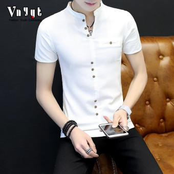 Cool men New style youth T-shirt polo shirt (1705 white)