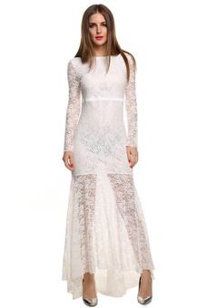 cyber lace sexy backless long maxi fishtail dress women