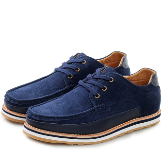Fashion Suede Lace-Ups Flat Shoes-Blue - picture 2