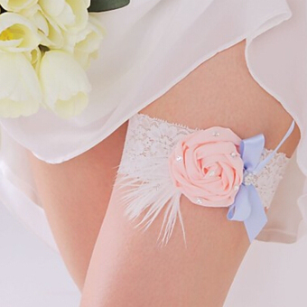 Feather Bowknot Elastic Wedding Garter (White) - picture 2