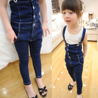 Gg b159 Korean-style girls casual cowboy long pants suspender pants