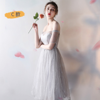 Gray New style bridesmaid dress Slim fit evening dress bridesmaid dress (Mid-length silver color C Models)