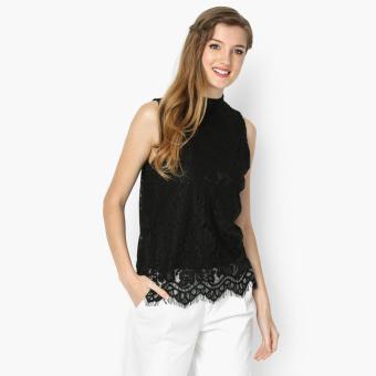 GTW Party Lace Mock Neck Top (Black)