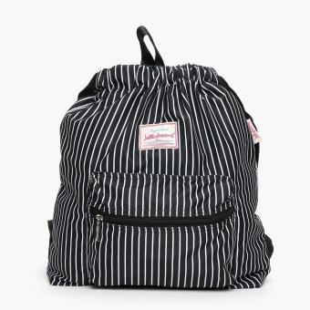 Jellybeans Ladies Striped Backpack (Black)