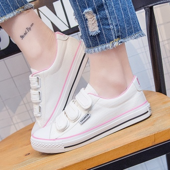 Korean-style female flat casual shoes Velcro canvas shoes (Women's + Pink)