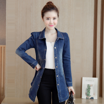 Korean-style female mid-length Slim fit jacket cowboy coat