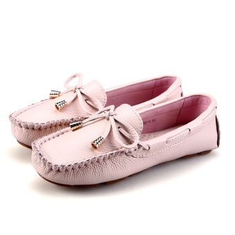 Korean-style leather female autumn Driving shoes peas shoes (Female Models + Butterfly pink)