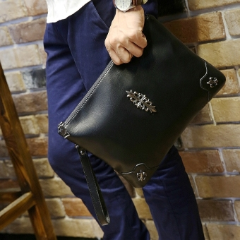 Korean-style riveted shoulder cross-body wrist bag soft leather handbag