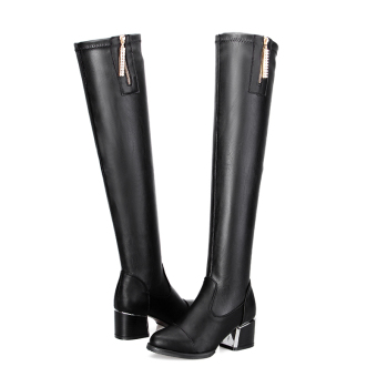 Korean-style side zip long-barreled stretch semi-high heeled boots women's boots