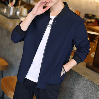 Korean-style Spring and Autumn thin section Slim fit models casual jacket men's jacket (Dark blue color)